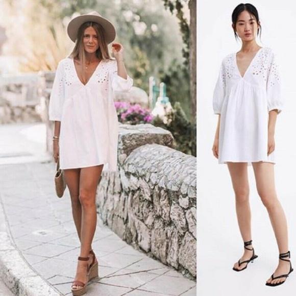 Zara Dresses & Skirts - ZARA White Embroidered Mini Dress Tunic